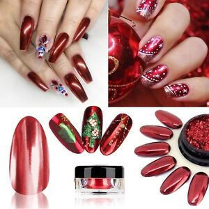 Details About Red Mirror Powder Platinum Nail Chrome Nails Pigment Shining Y4