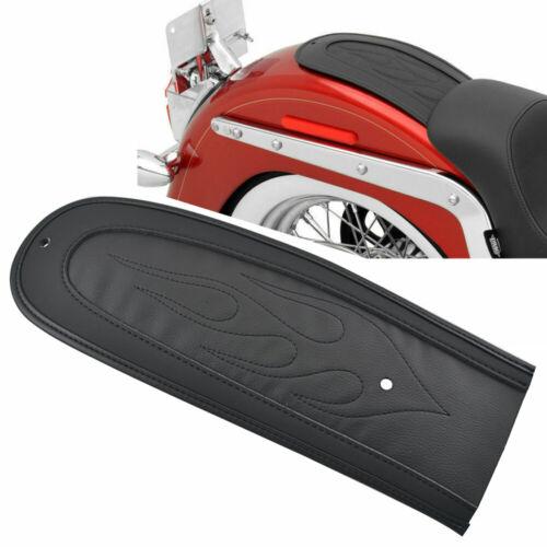 Black Flame Stitch PU Leather Rear Seat Fender Bib For Harley Dyna Street Bob