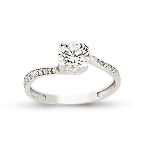 Image Is Loading 9CT WHITE GOLD SINGLE CZ SOLITAIRE ENGAGEMENT RING