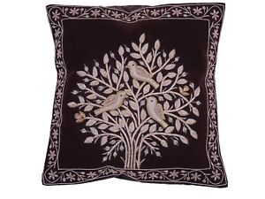Details About Dark Brown Tree Of Life Dabka Embroidery Pillow Cover Couch Sofa Throw Cushion