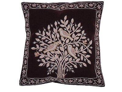 Red Tree of Life Dabka Embroidery Pillow Cover Couch Sofa Throw Ethnic Cushion