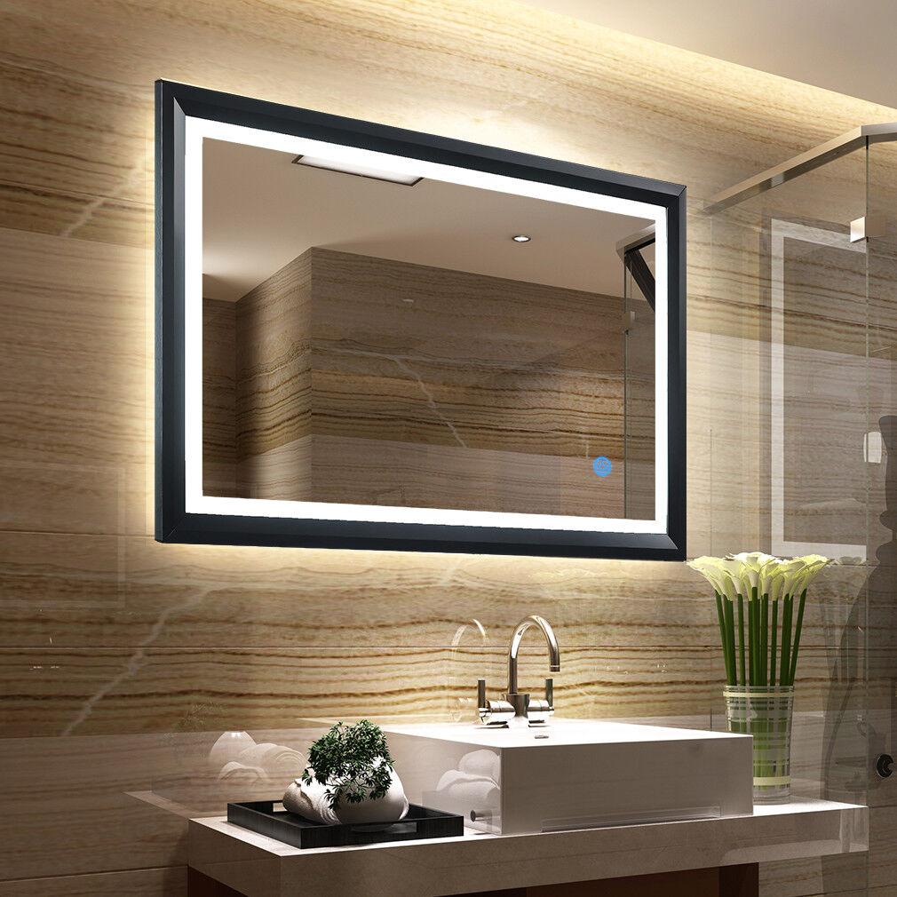 Badspiegel LED Beleuchtung Wandspiegel Bade Spiegel mit Touch-Schalter 80 x 60cm