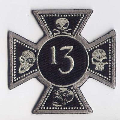 Maltese cross 13 skulls embroidered cloth patch.   A031001