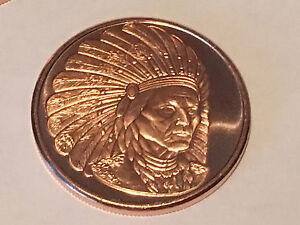 1 Oz Copper Coin Native American Indian Series # 2 Copper Bullion Round Bullion