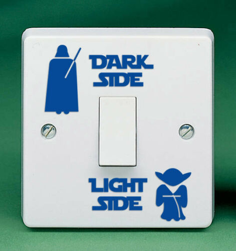 "1.8/"" Dark Side Light Side Autocollant Vinyle Interrupteur De Lumière Autocollant Ordinateur Portable Star Wars Yoda"