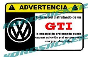 Vinilo-impreso-pegatina-ADVERTENCIA-VOLKSWAGEN-GTI-RACING-STICKER-DECAL
