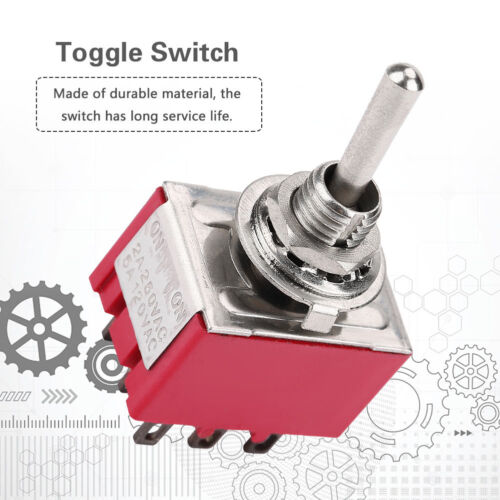5 × Mini Toggle Switch 3PDT 2 position ON-ON 9-PIN 250 V 2 A 120 V 5 A Rouge MTS-302 LSY