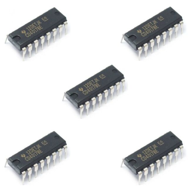5 x CD4017 Dip16 Decade Counter / Divider CD4017BE CMOS IC Through Hole