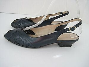 cb4d3612b88d9 BRUNO MAGLI Blue Leather Slingbacks Open Toe Heels Italy Size 6 1/2 ...