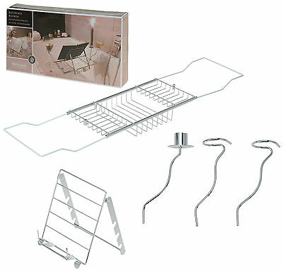 Chrome Extendable Bath Rack with Book/Kindle Holder Wine Glass & Candle Holders