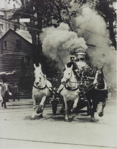 HORSE DRAWN FIRE TRUCK 8X10 PHOTO FIREFIGHTING PICTURE 1890/'S FURNACE SMOKE