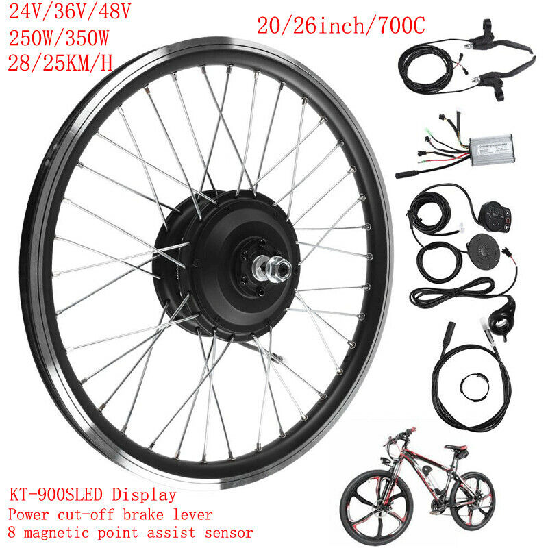 Electric eBike Motor Conversion Kit F R Wheel 24V 250W LED Display Refit Rim 20