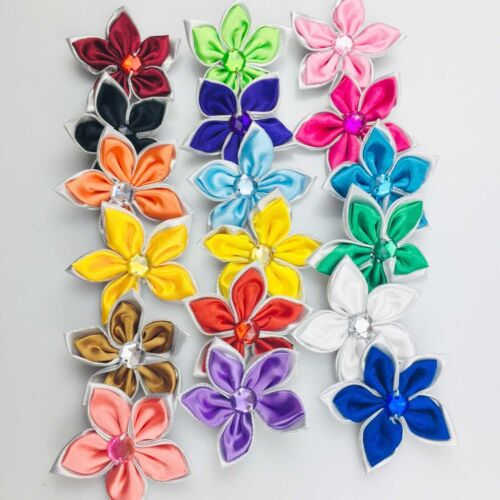 DIY 10-100PCS Satin Ribbon Flower Crystal Bead Appliques Wedding Decoration @29
