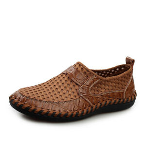 Fashion-Men-039-s-Leather-Casual-Mesh-Shoes-Breathable-Antiskid-Loafers-Moccasins