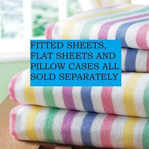 Image Is Loading Bedding Heaven Flannelette Candy Stripe Brushed Cotton  Sheets