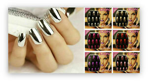 Silver False Nails Stiletto Metallic Shiny Bling Fake Nail Tips Mirror Chrome Health & Beauty
