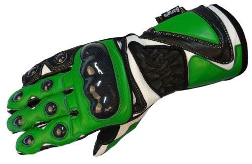 XL Bangla Gants de Moto Moto Gants Cuir Vert Blanc Noir XS