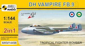 Mark-I-Models-1-144-Model-Kit-14498-de-Havilland-Vampire-FB-9-2-kits-in-box