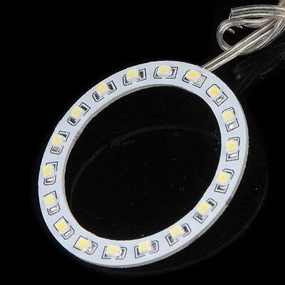 2pc Car Safety Warning Angel Eyes Round Light Headlight  3528 LED Ring White 12V