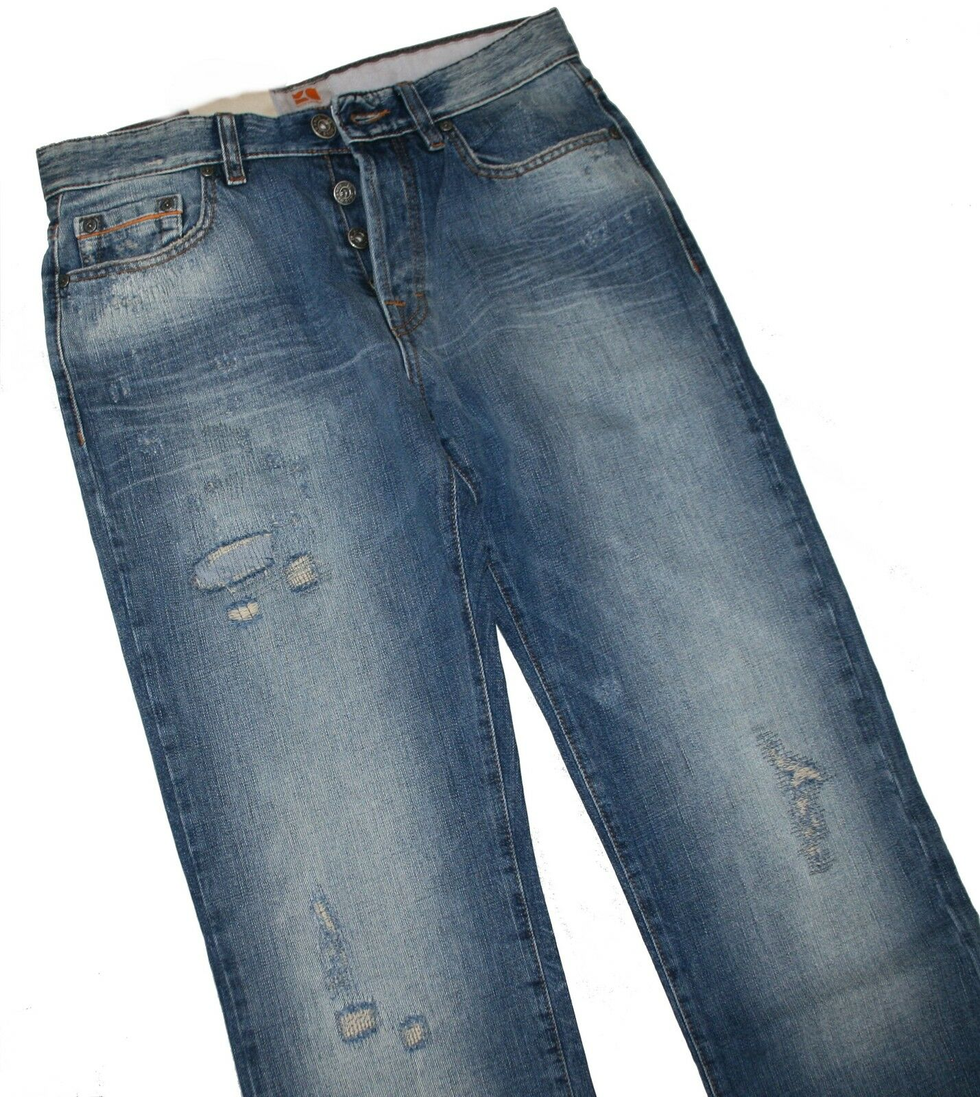 HUGO BOSS 50218926 moyen blue denim orange 25 toy JEANS W33 L34