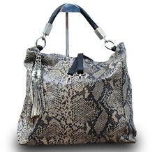 Made in Italy Luxus Damen Schultertasche Shopper Schlange Animal Print Schwarz