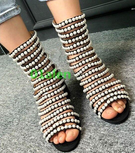 Perlas Sandalia Mujer Hueco salida botín botín botín Bombas Zapatos Tacón medio puntera abierta  barato en línea