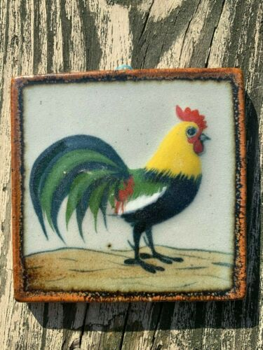 Set//3 Stoneware Tile Hen Rooster Chicks Wall Hanging Hand Painted Mexican  4x4ea