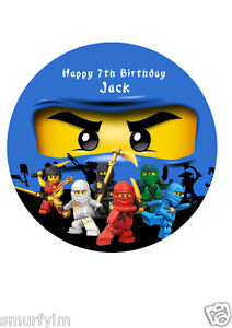 NINJAGO PERSONALISED BIRTHDAY CAKE TOPPER EDIBLE WAFER PAPER 75