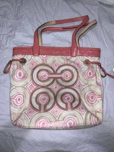 Beautiful Coach Pink & Cream Geometric Tote Bag Pu