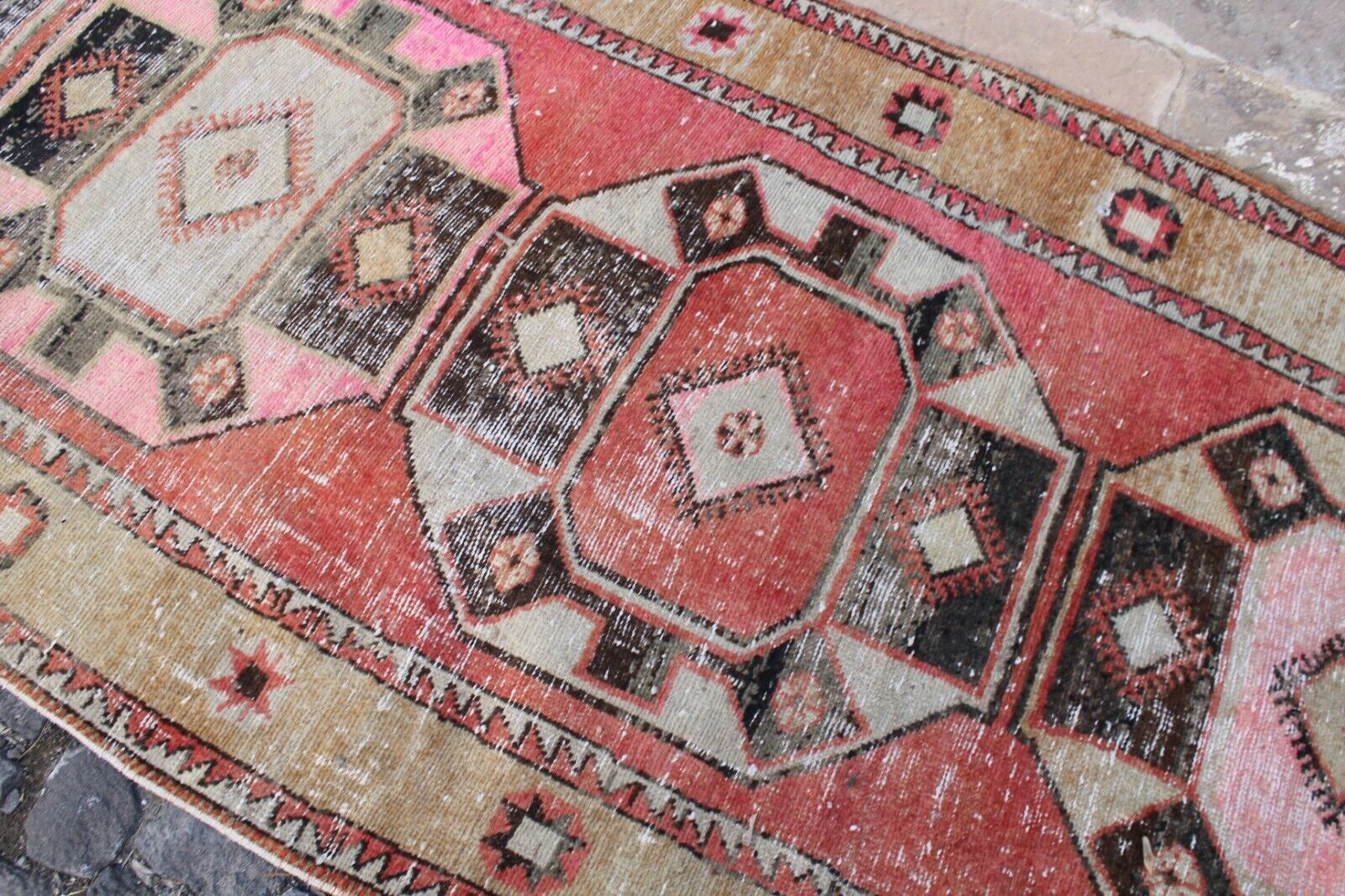 Vintage Handmade Turkish Oushak Runner Rug Rug Rug 12'5 x3'10  7696ae