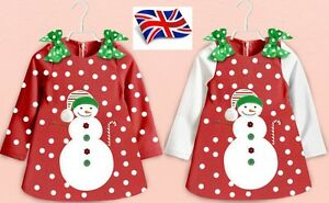 UK-Seller-Girls-Red-Christmas-Outfit-Party-Mini-Dress-Fleece-Snowman-1-5-Years