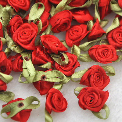 100pcs Satin Ribbon Flowers Rose Wedding Decor Sewing Appliques DIY Craft A039