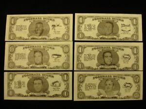 Lot of 6 Different 1962 Topps Bucks Inserts