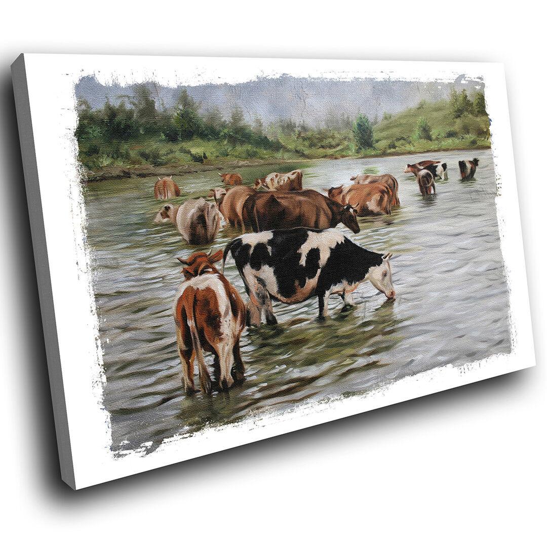 A651 braun Weiß Grün Cows Funky Animal Canvas Wall Art Large Picture Prints