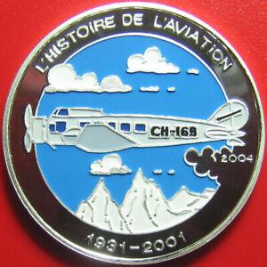 2004-BENIN-1000-FRANCS-SILVER-PROOF-MULTICOLOR-SWISSAIR-CH-169-AVIATION-PLANE