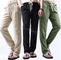 Summer Mens Casual Long Pants Retro Linen Cotton Slim Fit Trousers Fashion Pants