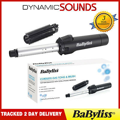 BaByliss 2583BU Cordless Gas Curling Tong Waves and Brush 19mm Ceramic Barrell