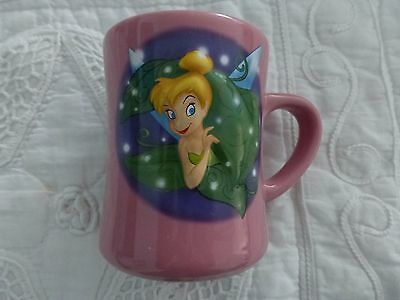Disney Store Coffee Mug Pink Tinkerbell 3D Stuck In Leaves 18 oz.