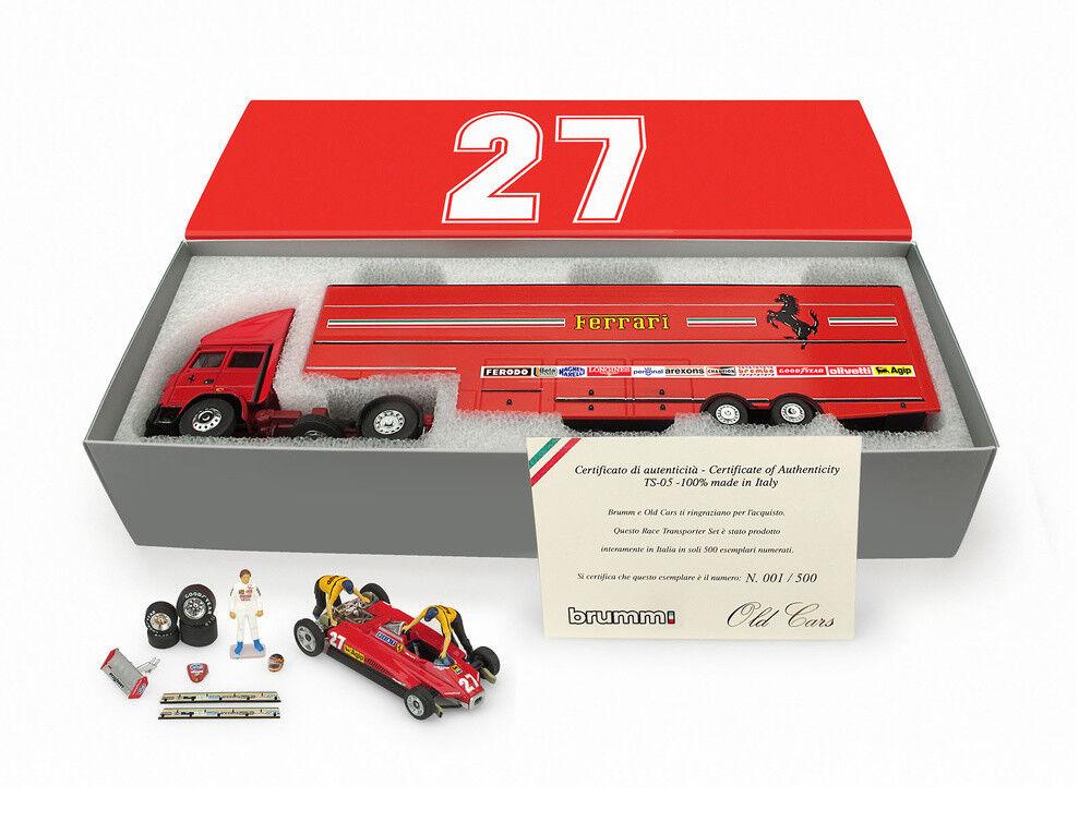 1:43 Brumm Iveco 190 Ferrari 126 126 126 C2 1982 Gilles Villeneuve Transporter Set RARE c5a85d
