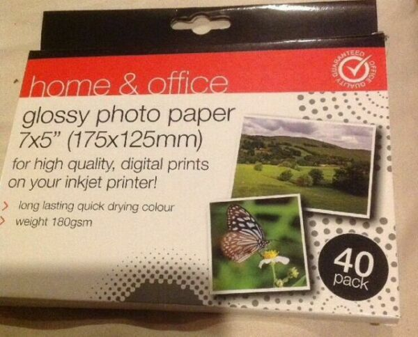 "7 x 5/"" 180gsm Quick Drying Colour UK 175 x 125mm Glossy Photo Paper 40 Pack"