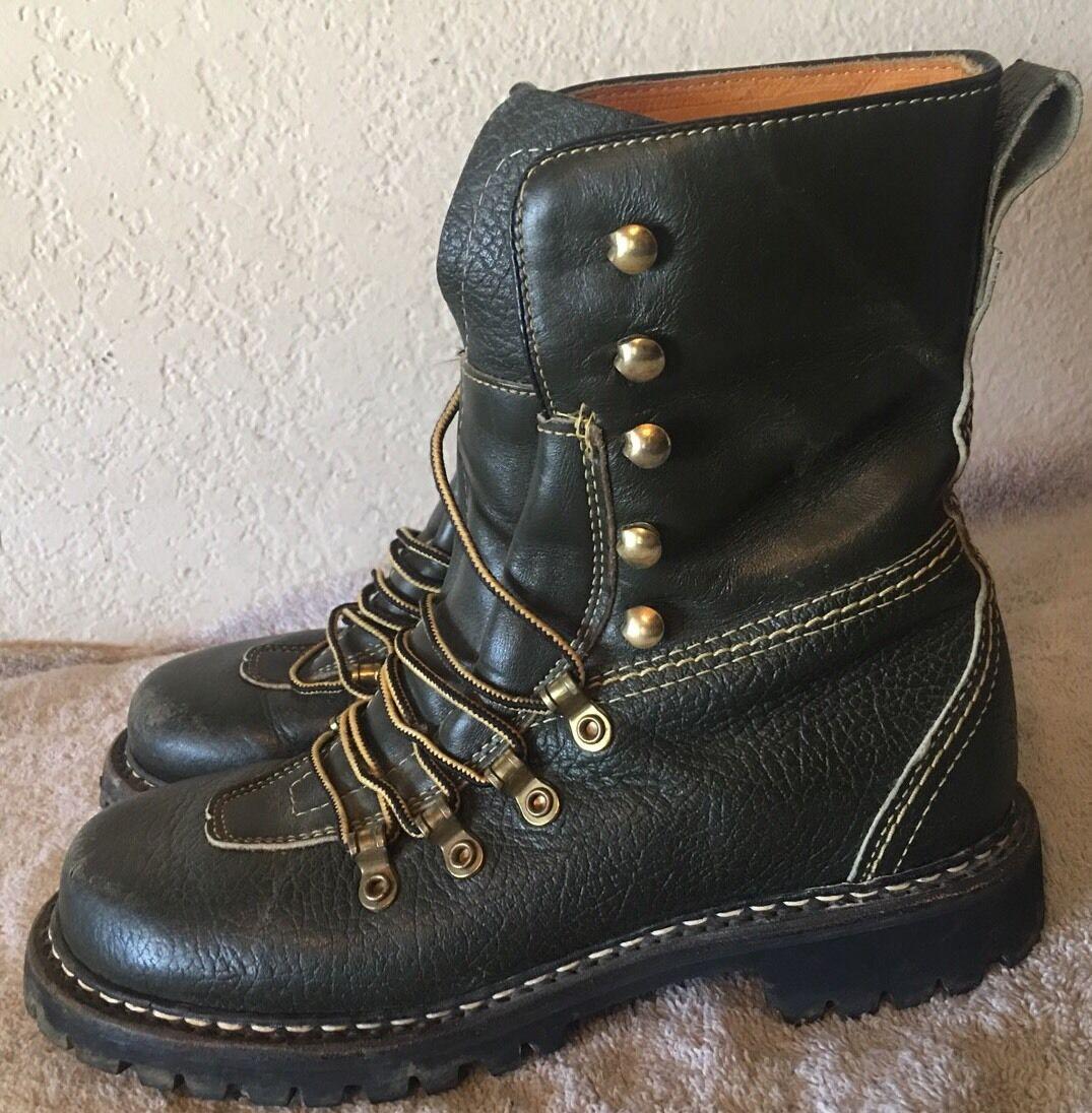 Vintage Original Herman Survivor Mountaineer Green Leather Boots Size 5 R
