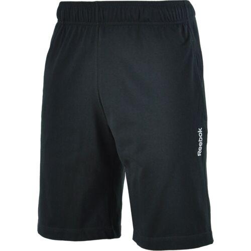Mens New Reebok Jersey Cotton Shorts Training Fitness Sports Gym Black