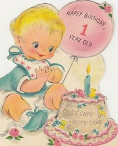 Image Is Loading Happy Birthday 1 Year Old Patty Cake Hallmark