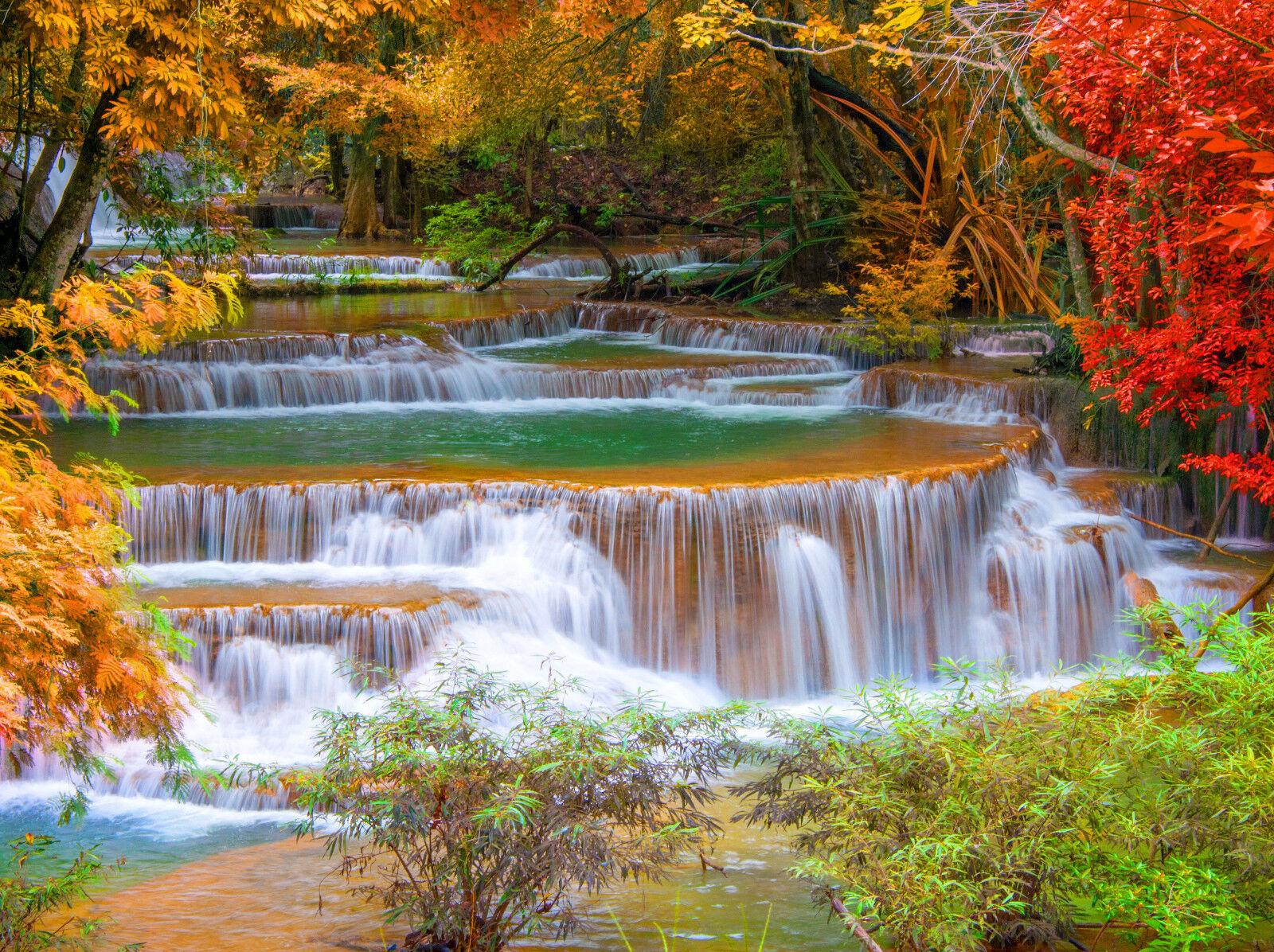 Fototapete-WASSERFALL-(374P)-350x260cm-7Bahnen 50x260cm-Bäume Herbst Wald Fluss