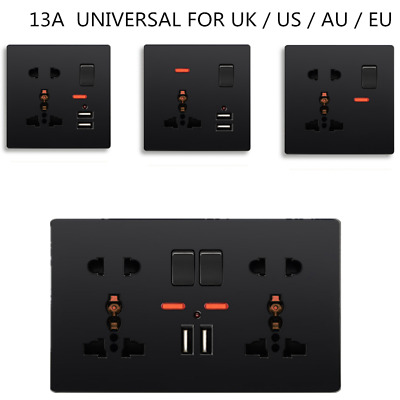 2 x Brush Chrome Double Wall Switch Socket 13A 2 gang with 2 USB Charger Ports UK 3 pin Plug Screwless Finish N776DME