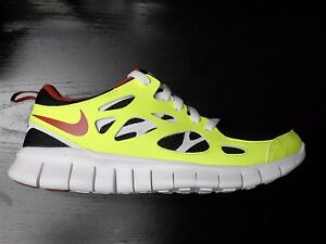 Details about NIKE FREE RUN 2 (GS) BOYS TRAINER RUNNING SHOES BLACK GYM RED VOLT