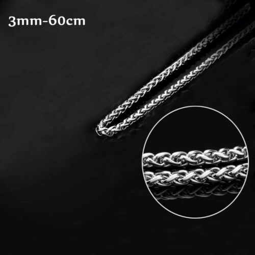 """18/""""~32/"""" 3MM~6MM Silver Punk Braided Wheat Chain 316L Stainless Steel Necklace"""
