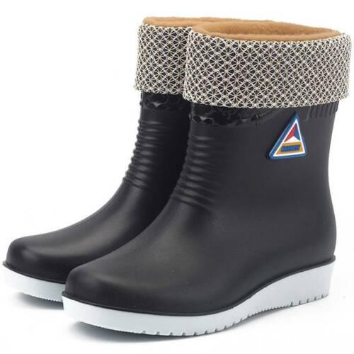 Women Short Wide Calf Wellington Rain Boot Ankle Warm Casual Wellies Shoes Size