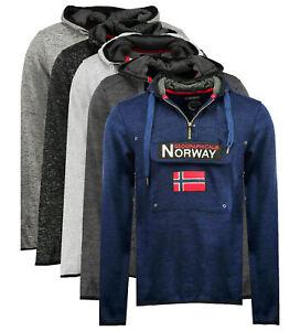 Felpa-GEOGRAPHICAL-NORWAY-Upclass-Uomo-tascone-cappuccio-manica-lunga-WR300H-GN