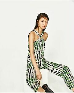 b4505e38 ZARA Leaves Leaf Tropical Print Stripe Halter Long Green Jumpsuit ...